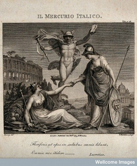 Black and white illustration of Britannia and Italia shaking hands, with Mercury - the messenger of the Gods - behind them.